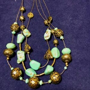 Chico's wire necklace turquoise & gold beads NWT